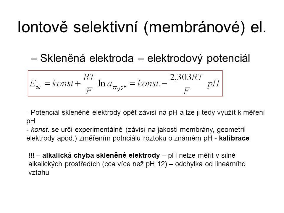Iontově selektivní (membránové) el. –Skleněná elektroda – elektrodový potenciál - Potenciál skleněné elektrody opět závisí na pH a lze ji tedy využít