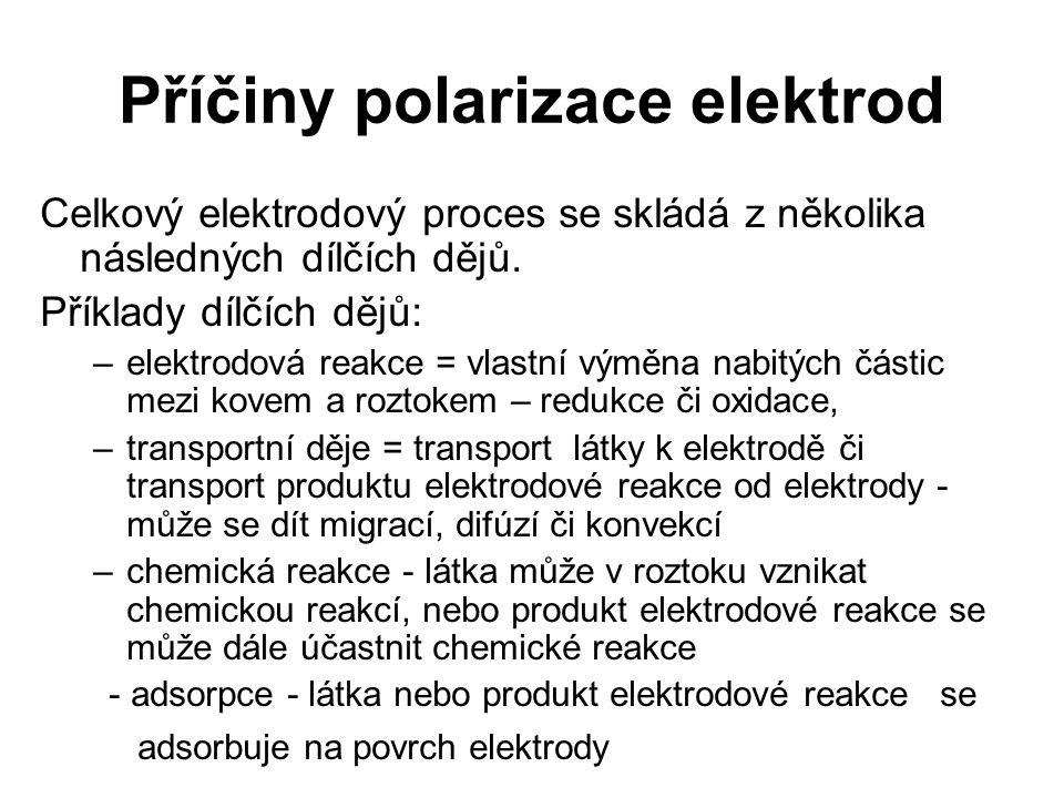 Příčiny polarizace elektrod Celkový elektrodový proces se skládá z několika následných dílčích dějů. Příklady dílčích dějů: –elektrodová reakce = vlas