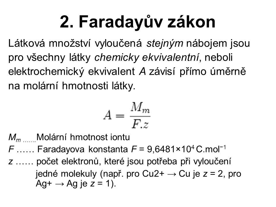 2. Faradayův zákon Látková množství vyloučená stejným nábojem jsou pro všechny látky chemicky ekvivalentní, neboli elektrochemický ekvivalent A závisí