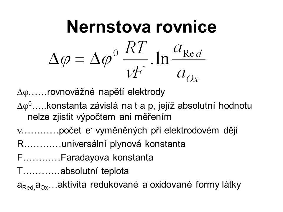 Nernstova rovnice   ……rovnovážné napětí elektrody   0 …..konstanta závislá na t a p, jejíž absolutní hodnotu nelze zjistit výpočtem ani měřením ……