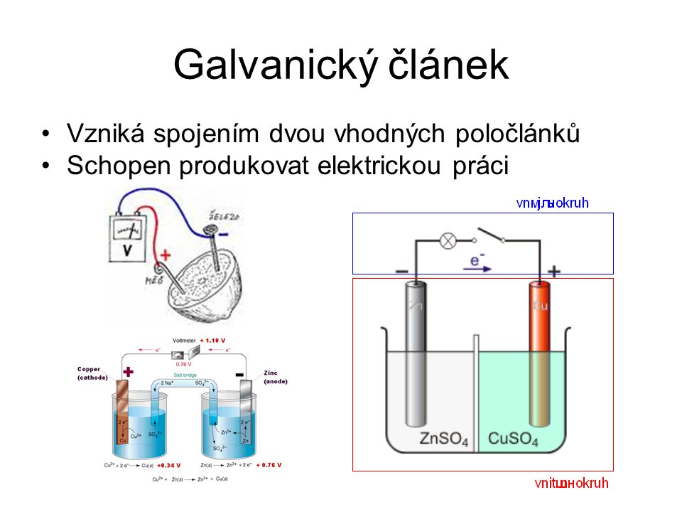 Galvanický článek Vzniká spojením dvou vhodných poločlánků Schopen produkovat elektrickou práci