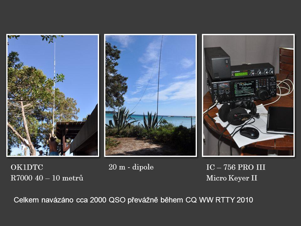 OK1DTC R7000 40 – 10 metrů 20 m - dipole IC – 756 PRO III Micro Keyer II Celkem navázáno cca 2000 QSO převážně během CQ WW RTTY 2010