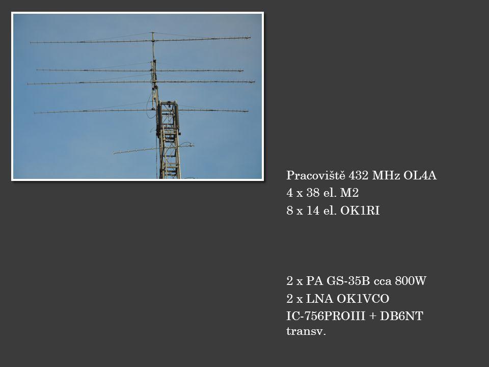 Pracoviště 432 MHz OL4A 4 x 38 el. M2 8 x 14 el. OK1RI 2 x PA GS-35B cca 800W 2 x LNA OK1VCO IC-756PROIII + DB6NT transv.