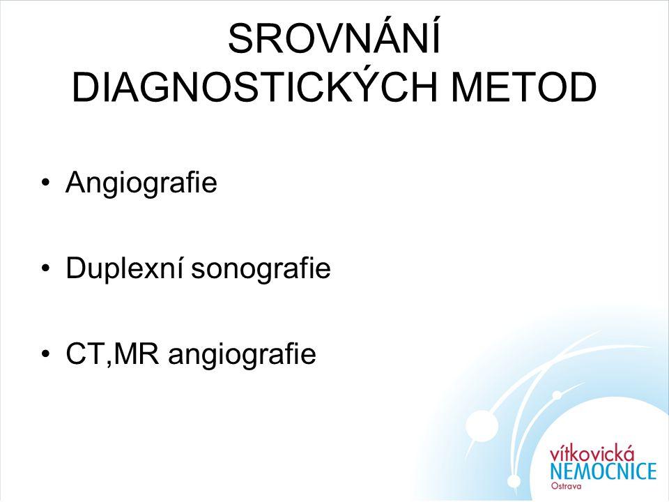 SROVNÁNÍ DIAGNOSTICKÝCH METOD Angiografie Duplexní sonografie CT,MR angiografie