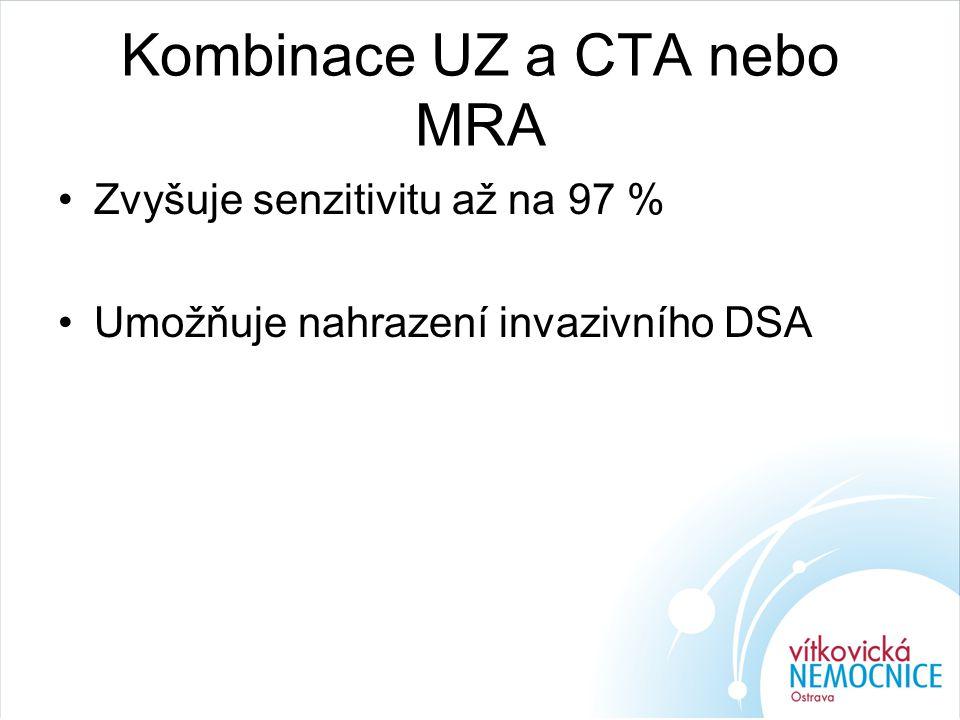 Kombinace UZ a CTA nebo MRA Zvyšuje senzitivitu až na 97 % Umožňuje nahrazení invazivního DSA