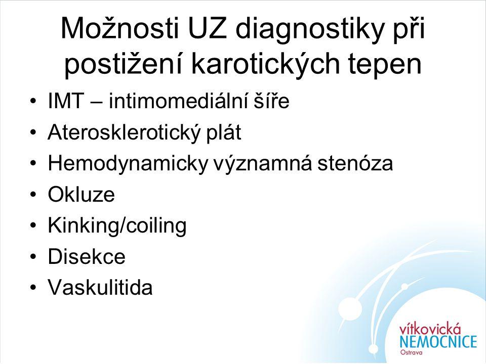 Možnosti UZ diagnostiky při postižení karotických tepen IMT – intimomediální šíře Aterosklerotický plát Hemodynamicky významná stenóza Okluze Kinking/