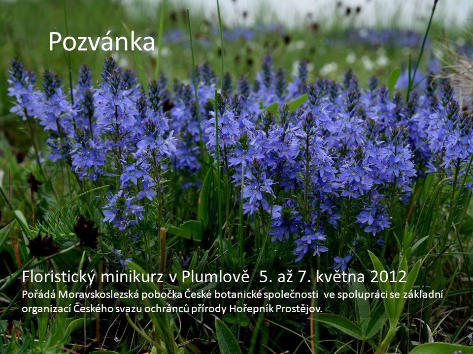 Pozvánka Floristický minikurz v Plumlově 5. až 7. května 2012 Pořádá Moravskoslezská pobočka České botanické společnosti ve spolupráci se základní org