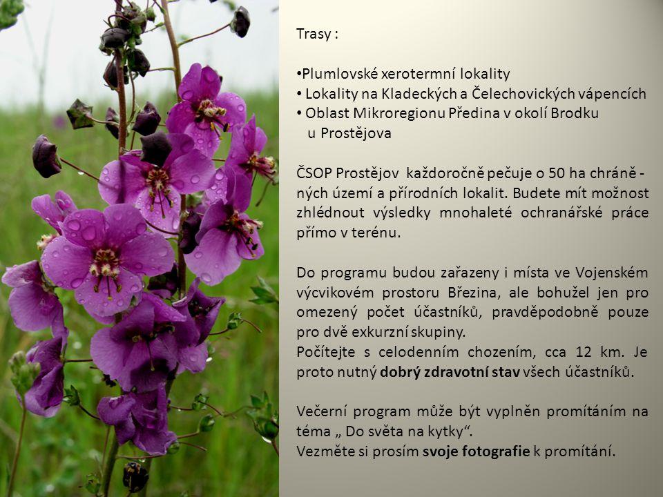 Trasy : Plumlovské xerotermní lokality Lokality na Kladeckých a Čelechovických vápencích Oblast Mikroregionu Předina v okolí Brodku u Prostějova ČSOP