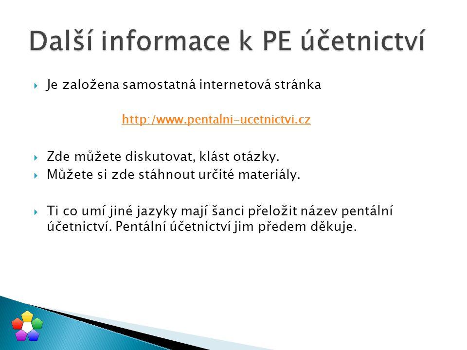  Je založena samostatná internetová stránka http:/www.pentalni-ucetnictvi.cz  Zde můžete diskutovat, klást otázky.  Můžete si zde stáhnout určité m