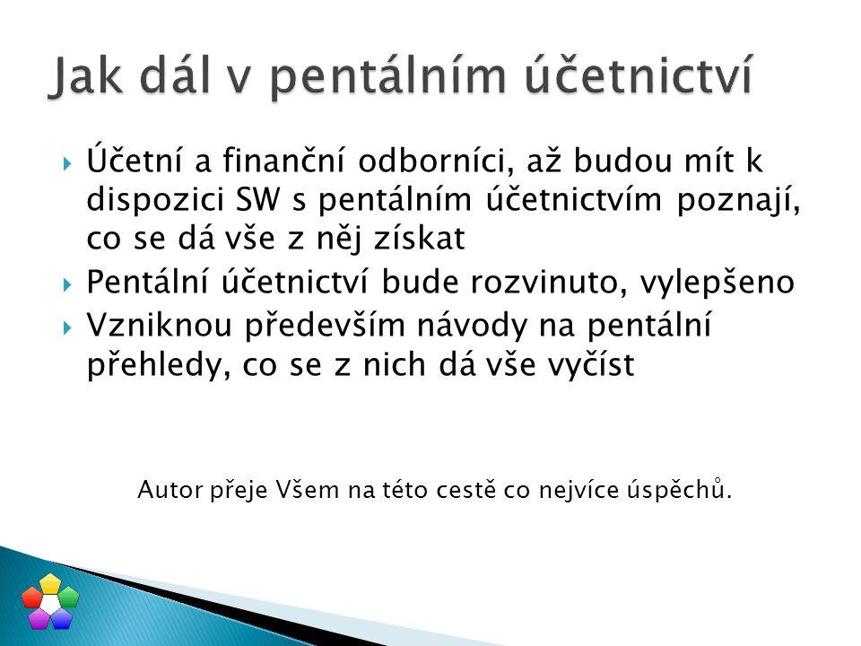  Účetní a finanční odborníci, až budou mít k dispozici SW s pentálním účetnictvím poznají, co se dá vše z něj získat  Pentální účetnictví bude rozvi