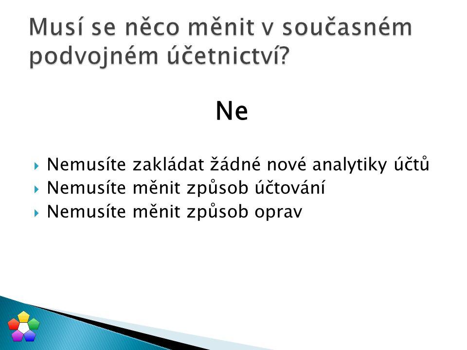  Jednotlivá účetní transakce: MD /DAL částka  Základem není: ◦ hlavní kniha ◦ účet MD ◦ účet DAL ◦ účetní výkazy rozvaha, výsledovka ◦ sumární účetní deník