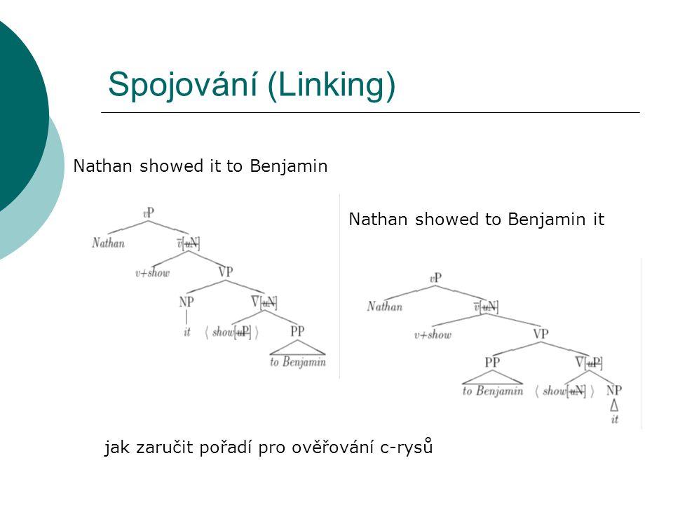Spojování (Linking) Nathan showed it to Benjamin Nathan showed to Benjamin it jak zaručit pořadí pro ověřování c-rysů