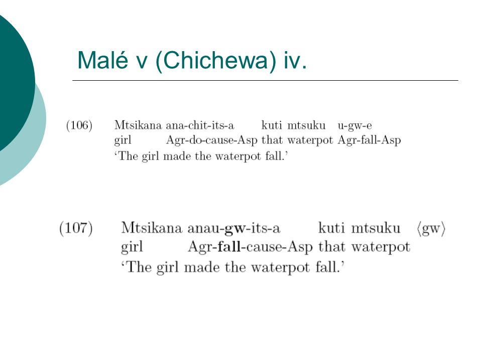 Malé v (Chichewa) iv.