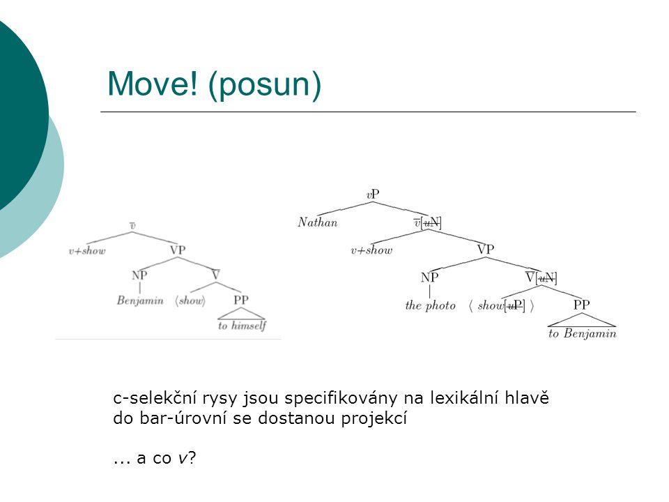 ...a co tedy v.1. v c-selektuje VP  ale selekce je vázána na θ-role 2.