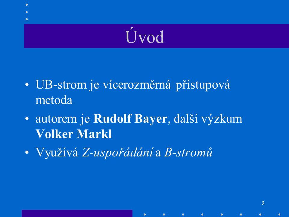 3 Úvod UB-strom je vícerozměrná přístupová metoda autorem je Rudolf Bayer, další výzkum Volker Markl Využívá Z-uspořádání a B-stromů