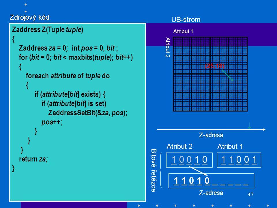 47 _ _ _ _ _ 1 0 0 1 01 1 0 0 1 (25,18) Z- adresa _ _ _ _ _ Atribut 2Atribut 1 Bitové řetězce Atribut 1 Atribut 2 Z- adresa UB-strom 1 1 0 1 0 Zdrojov