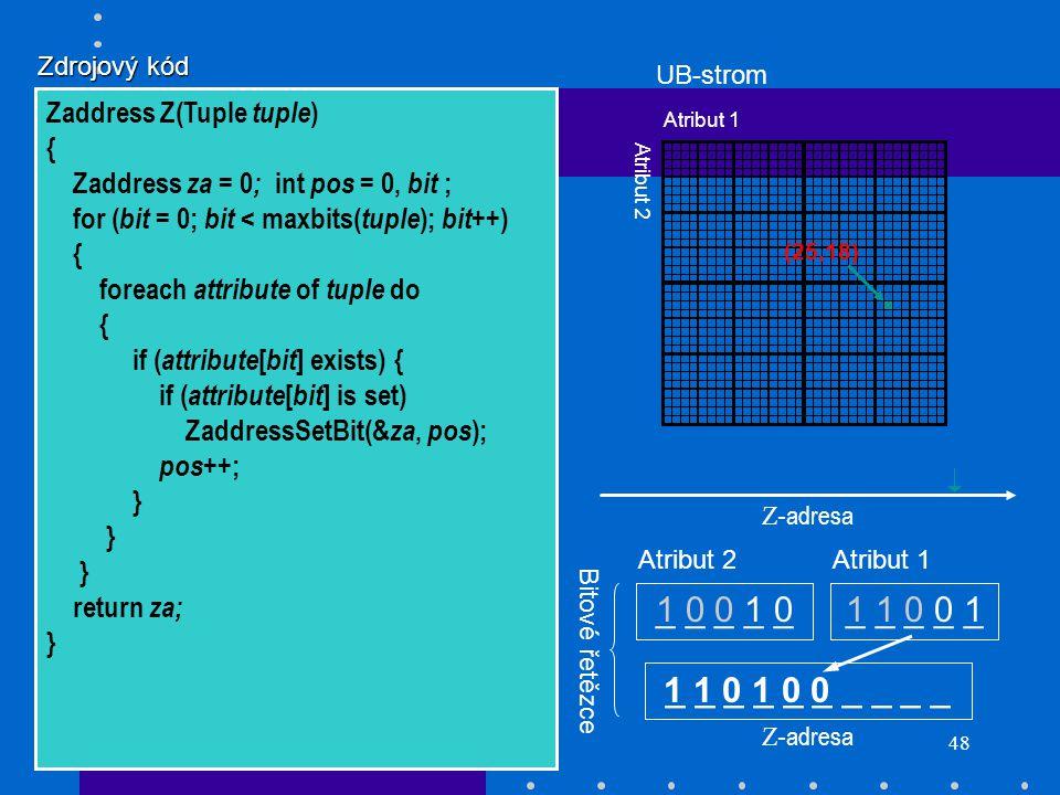 48 _ _ _ _ _ 1 0 0 1 01 1 0 0 1 (25,18) Z- adresa _ _ _ _ _ Atribut 2Atribut 1 Bitové řetězce Atribut 1 Atribut 2 Z- adresa UB-strom 1 1 0 1 0 0 Zdroj