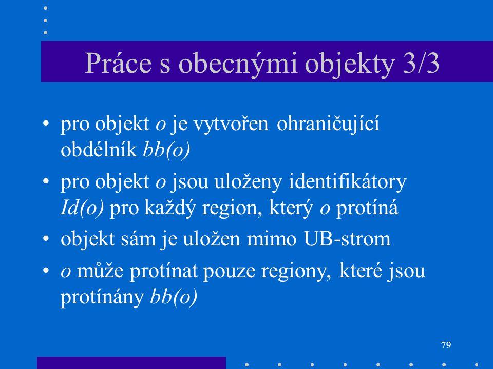 79 pro objekt o je vytvořen ohraničující obdélník bb(o) pro objekt o jsou uloženy identifikátory Id(o) pro každý region, který o protíná objekt sám je