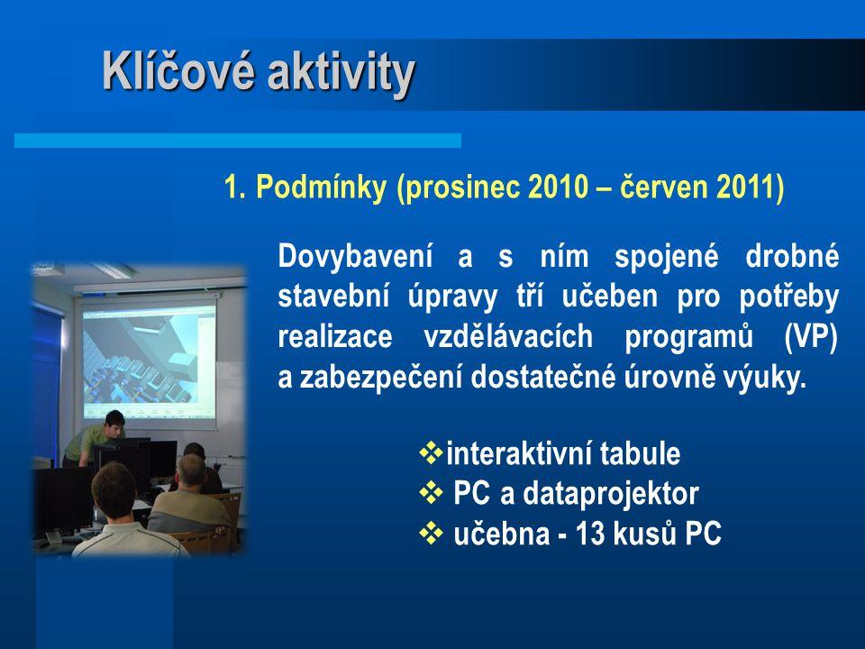Klíčové aktivity 1.Podmínky (prosinec 2010 – červen 2011)  interaktivní tabule  PC a dataprojektor  učebna - 13 kusů PC Dovybavení a s ním spojené