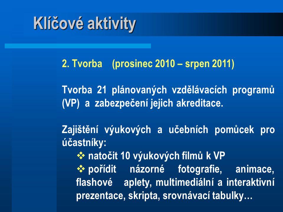 Klíčové aktivity 2. Tvorba (prosinec 2010 – srpen 2011) Tvorba 21 plánovaných vzdělávacích programů (VP) a zabezpečení jejich akreditace. Zajištění vý