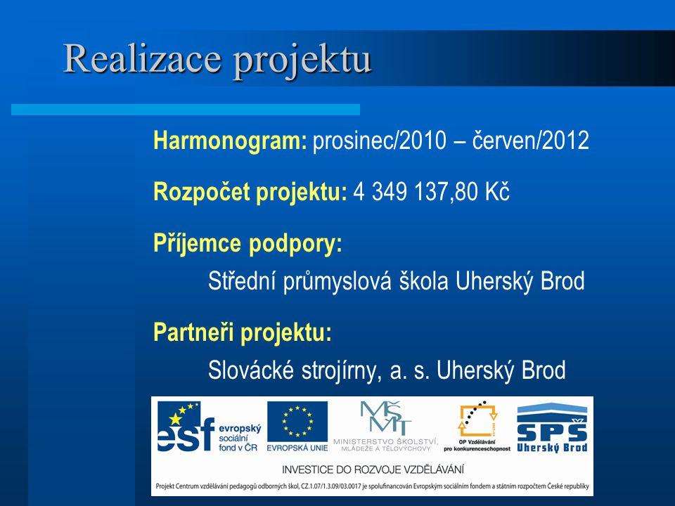 Realizace projektu Harmonogram: prosinec/2010 – červen/2012 Rozpočet projektu: 4 349 137,80 Kč Příjemce podpory: Střední průmyslová škola Uherský Brod
