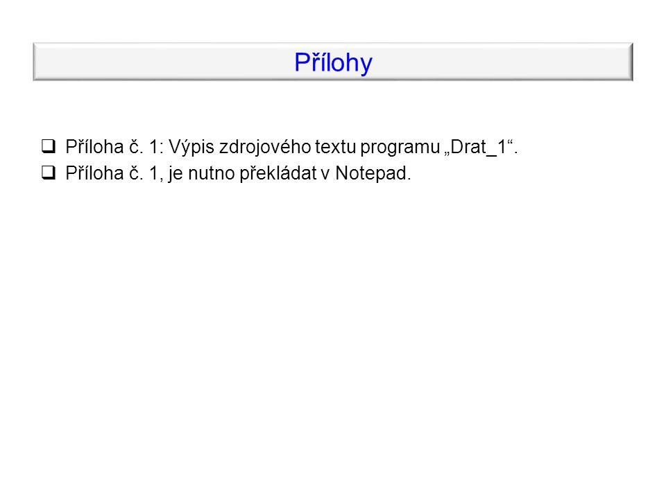"""Přílohy  Příloha č. 1: Výpis zdrojového textu programu """"Drat_1"""".  Příloha č. 1, je nutno překládat v Notepad."""