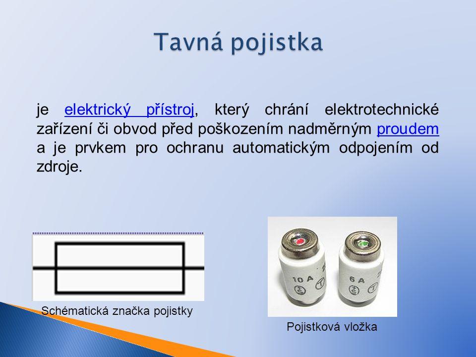 Tavná pojistka je elektrický přístroj, který chrání elektrotechnické zařízení či obvod před poškozením nadměrným proudem a je prvkem pro ochranu automatickým odpojením od zdroje.elektrický přístrojproudem Schématická značka pojistky Pojistková vložka