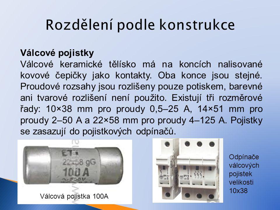 Rozdělení podle konstrukce Válcové pojistky Válcové keramické tělísko má na koncích nalisované kovové čepičky jako kontakty.