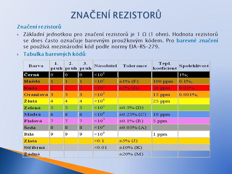 Značení rezistorů  Základní jednotkou pro značení rezistorů je 1 Ω (1 ohm). Hodnota rezistorů se dnes často označuje barevným proužkovým kódem. Pro b