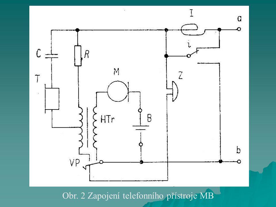 Obr. 2 Zapojení telefonního přístroje MB