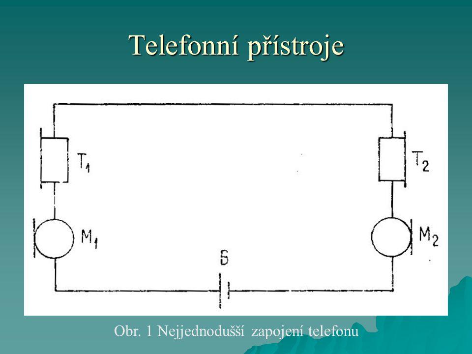 Telefonní přístroje Obr. 1 Nejjednodušší zapojení telefonu