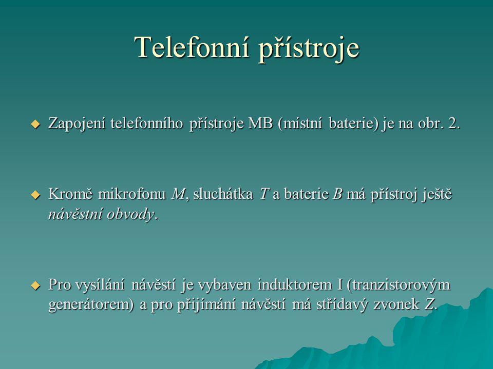 Telefonní přístroje  Zapojení telefonního přístroje MB (místní baterie) je na obr. 2.  Kromě mikrofonu M, sluchátka T a baterie B má přístroj ještě