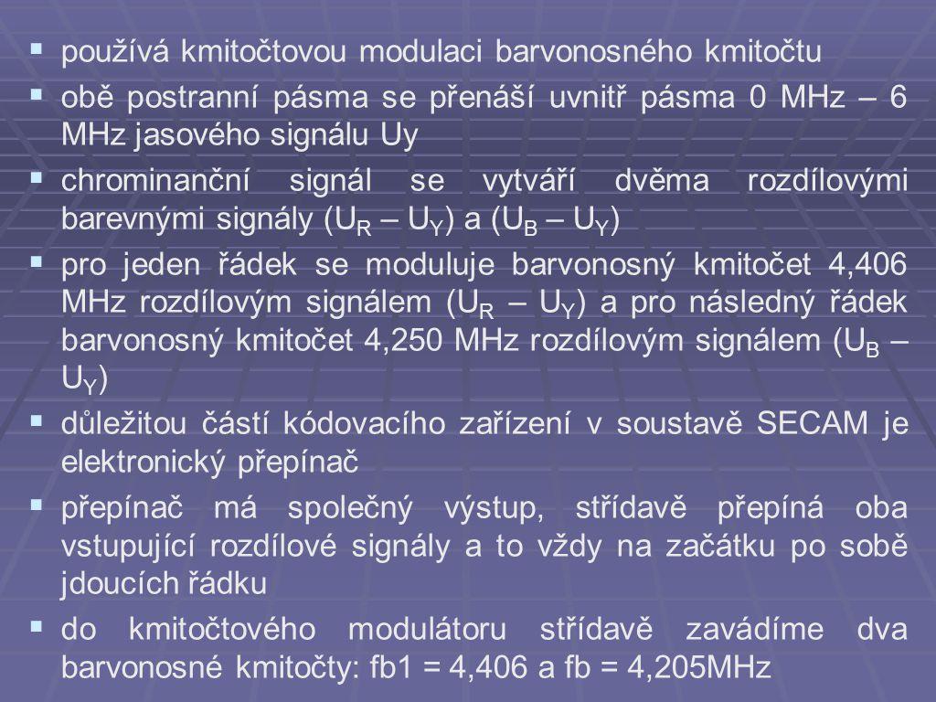  používá kmitočtovou modulaci barvonosného kmitočtu  obě postranní pásma se přenáší uvnitř pásma 0 MHz – 6 MHz jasového signálu Uy  chrominanční signál se vytváří dvěma rozdílovými barevnými signály (U R – U Y ) a (U B – U Y )  pro jeden řádek se moduluje barvonosný kmitočet 4,406 MHz rozdílovým signálem (U R – U Y ) a pro následný řádek barvonosný kmitočet 4,250 MHz rozdílovým signálem (U B – U Y )  důležitou částí kódovacího zařízení v soustavě SECAM je elektronický přepínač  přepínač má společný výstup, střídavě přepíná oba vstupující rozdílové signály a to vždy na začátku po sobě jdoucích řádku  do kmitočtového modulátoru střídavě zavádíme dva barvonosné kmitočty: fb1 = 4,406 a fb = 4,205MHz