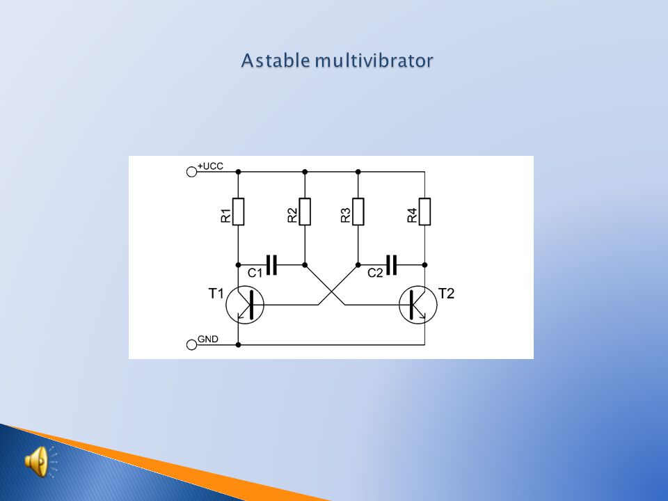  Scheme of astable multivibrator  Components specification  Recessing drawing  Recessing drawing from the side of joints  Function of astable multivibrator  Students activities