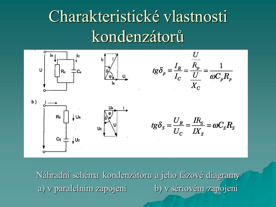 Charakteristické vlastnosti kondenzátorů Náhradní schéma kondenzátoru a jeho fázové diagramy a) v paralelním zapojení b) v sériovém zapojení