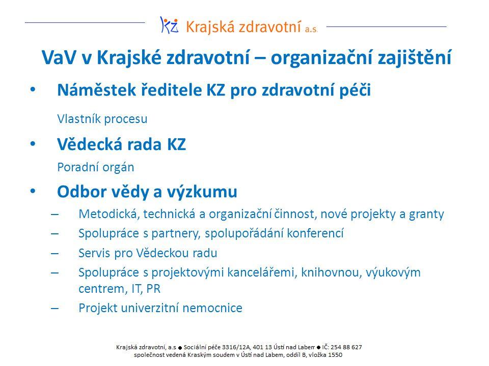 VaV v Krajské zdravotní – organizační zajištění Náměstek ředitele KZ pro zdravotní péči Vlastník procesu Vědecká rada KZ Poradní orgán Odbor vědy a vý