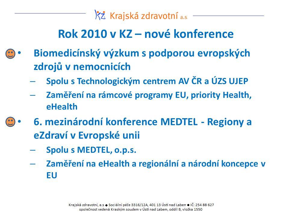 Rok 2010 v KZ – nové konference Biomedicínský výzkum s podporou evropských zdrojů v nemocnicích – Spolu s Technologickým centrem AV ČR a ÚZS UJEP – Za