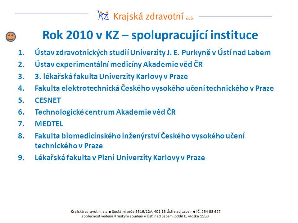 Rok 2010 v KZ – spolupracující instituce 1.Ústav zdravotnických studií Univerzity J. E. Purkyně v Ústí nad Labem 2.Ústav experimentální medicíny Akade