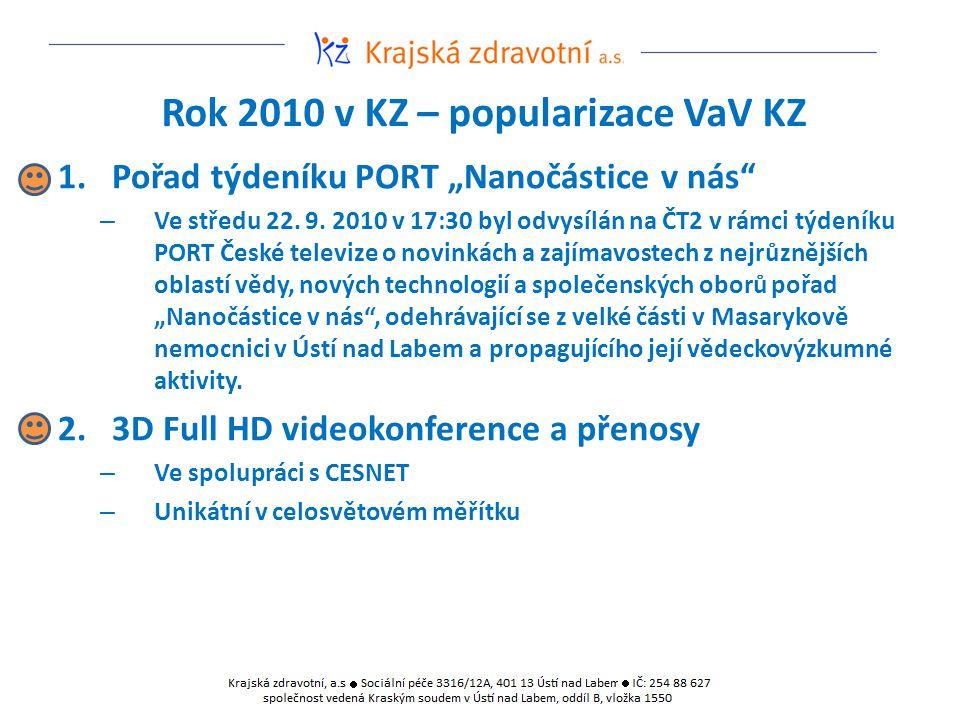 """Rok 2010 v KZ – popularizace VaV KZ 1.Pořad týdeníku PORT """"Nanočástice v nás"""" – Ve středu 22. 9. 2010 v 17:30 byl odvysílán na ČT2 v rámci týdeníku PO"""