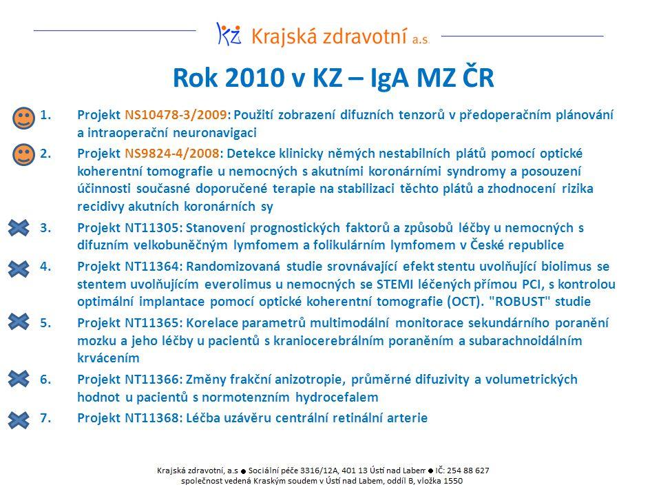 Rok 2010 v KZ – IgA MZ ČR 1.Projekt NS10478-3/2009: Použití zobrazení difuzních tenzorů v předoperačním plánování a intraoperační neuronavigaci 2.Projekt NS9824-4/2008: Detekce klinicky němých nestabilních plátů pomocí optické koherentní tomografie u nemocných s akutními koronárními syndromy a posouzení účinnosti současné doporučené terapie na stabilizaci těchto plátů a zhodnocení rizika recidivy akutních koronárních sy 3.Projekt NT11305: Stanovení prognostických faktorů a způsobů léčby u nemocných s difuzním velkobuněčným lymfomem a folikulárním lymfomem v České republice 4.Projekt NT11364: Randomizovaná studie srovnávající efekt stentu uvolňující biolimus se stentem uvolňujícím everolimus u nemocných se STEMI léčených přímou PCI, s kontrolou optimální implantace pomocí optické koherentní tomografie (OCT).