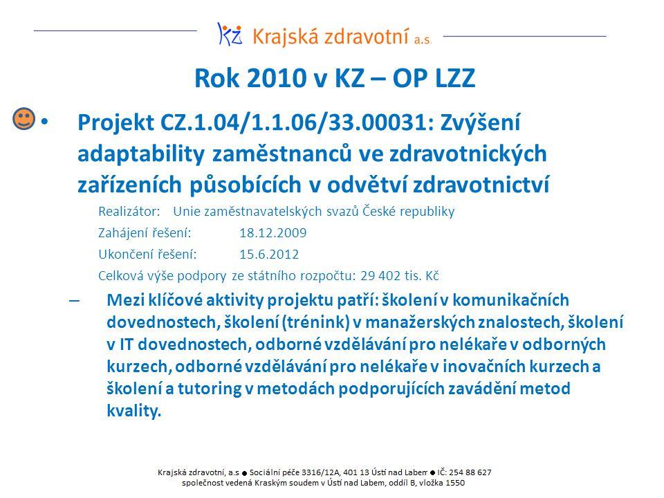 Rok 2010 v KZ – OP LZZ Projekt CZ.1.04/1.1.06/33.00031: Zvýšení adaptability zaměstnanců ve zdravotnických zařízeních působících v odvětví zdravotnict