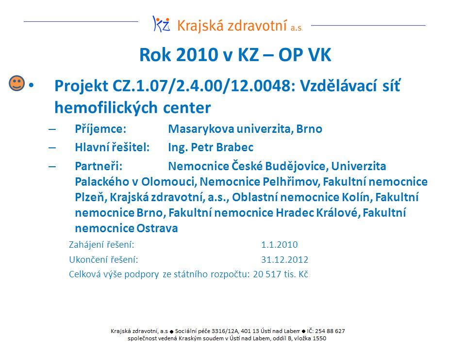 Rok 2010 v KZ – OP VK Projekt CZ.1.07/2.4.00/12.0048: Vzdělávací síť hemofilických center – Příjemce:Masarykova univerzita, Brno – Hlavní řešitel:Ing.