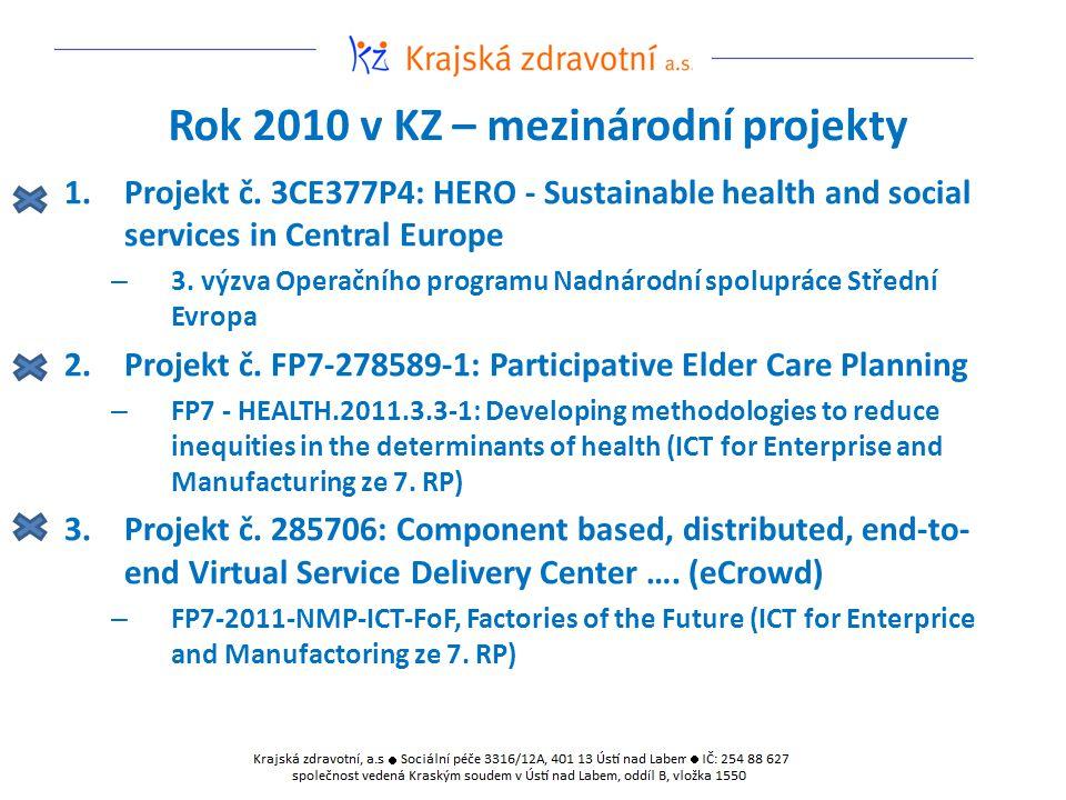Rok 2010 v KZ – mezinárodní projekty 1.Projekt č. 3CE377P4: HERO - Sustainable health and social services in Central Europe – 3. výzva Operačního prog