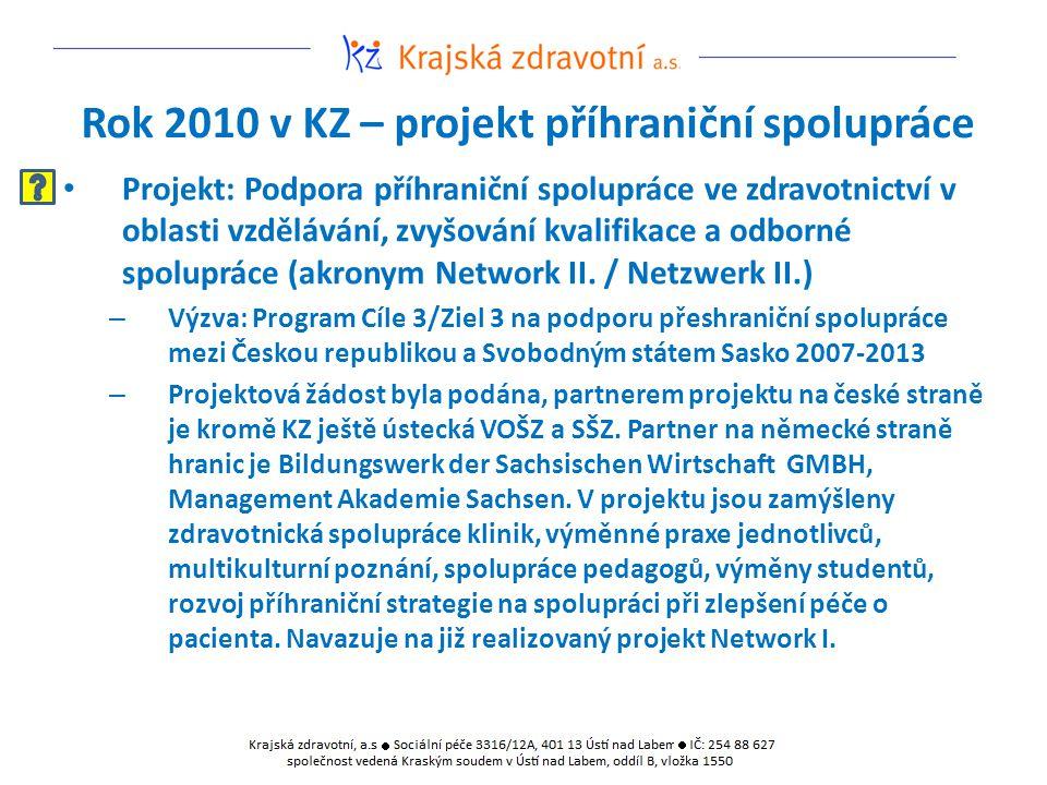 Rok 2010 v KZ – projekt příhraniční spolupráce Projekt: Podpora příhraniční spolupráce ve zdravotnictví v oblasti vzdělávání, zvyšování kvalifikace a