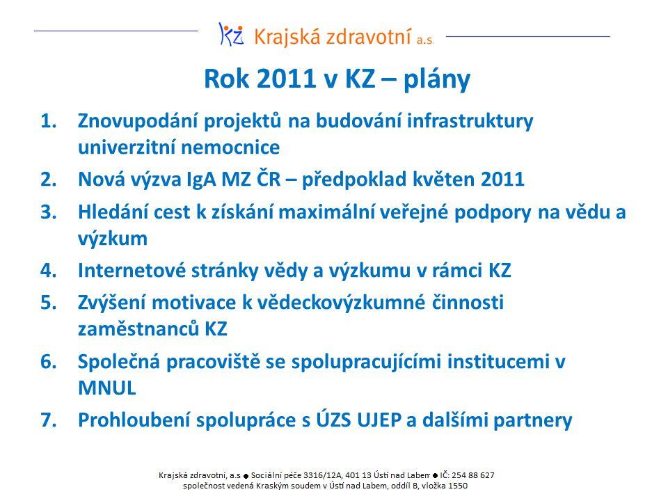 Rok 2011 v KZ – plány 1.Znovupodání projektů na budování infrastruktury univerzitní nemocnice 2.Nová výzva IgA MZ ČR – předpoklad květen 2011 3.Hledán