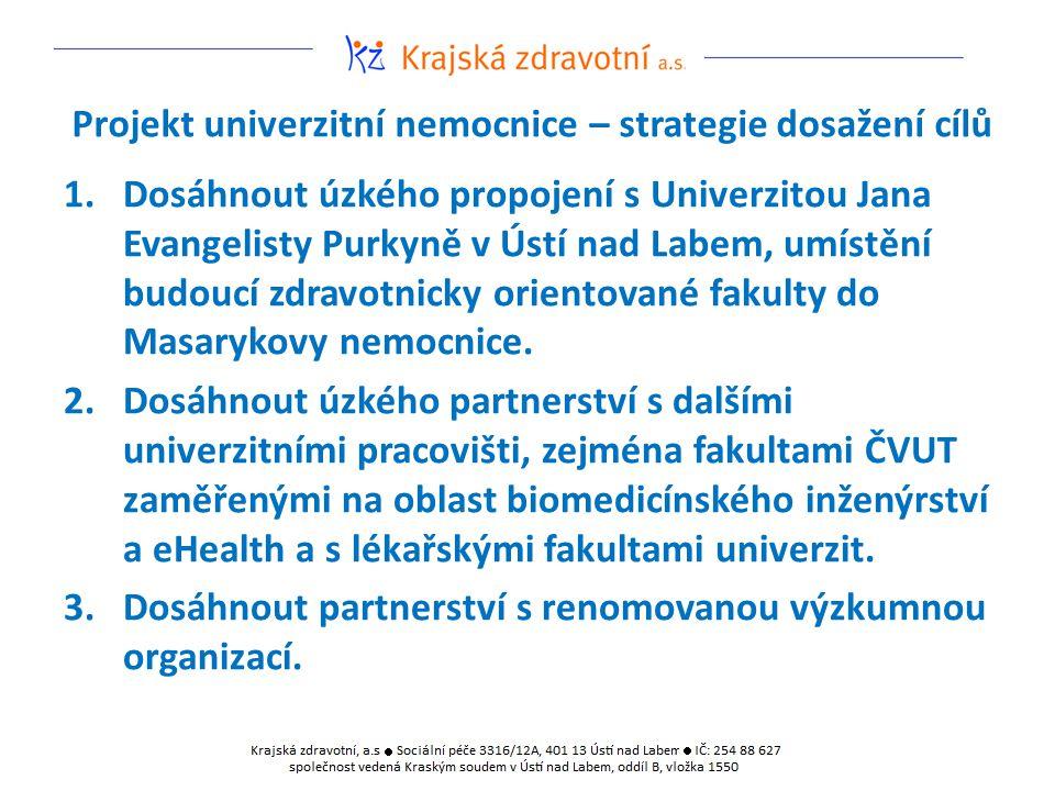 Projekt univerzitní nemocnice – strategie dosažení cílů 1.Dosáhnout úzkého propojení s Univerzitou Jana Evangelisty Purkyně v Ústí nad Labem, umístění budoucí zdravotnicky orientované fakulty do Masarykovy nemocnice.