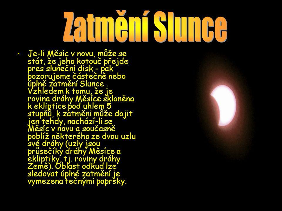 Je-li Měsíc v novu, může se stát, že jeho kotouč přejde pres sluneční disk - pak pozorujeme částečně nebo úplně zatmění Slunce.