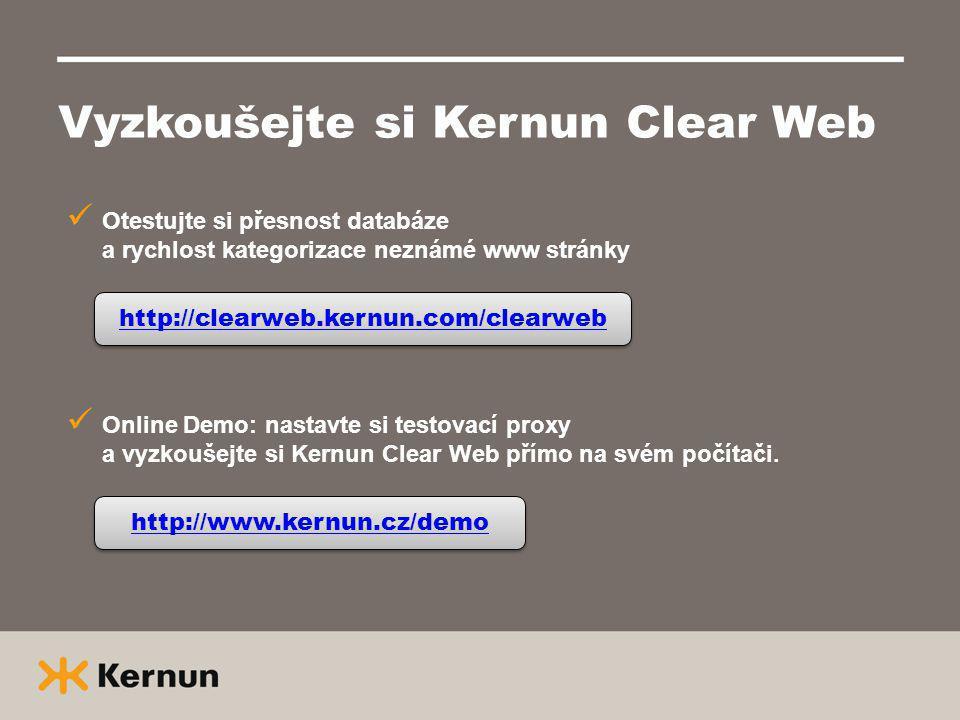 Vyzkoušejte si Kernun Clear Web Otestujte si přesnost databáze a rychlost kategorizace neznámé www stránky http://clearweb.kernun.com/clearweb Online Demo: nastavte si testovací proxy a vyzkoušejte si Kernun Clear Web přímo na svém počítači.