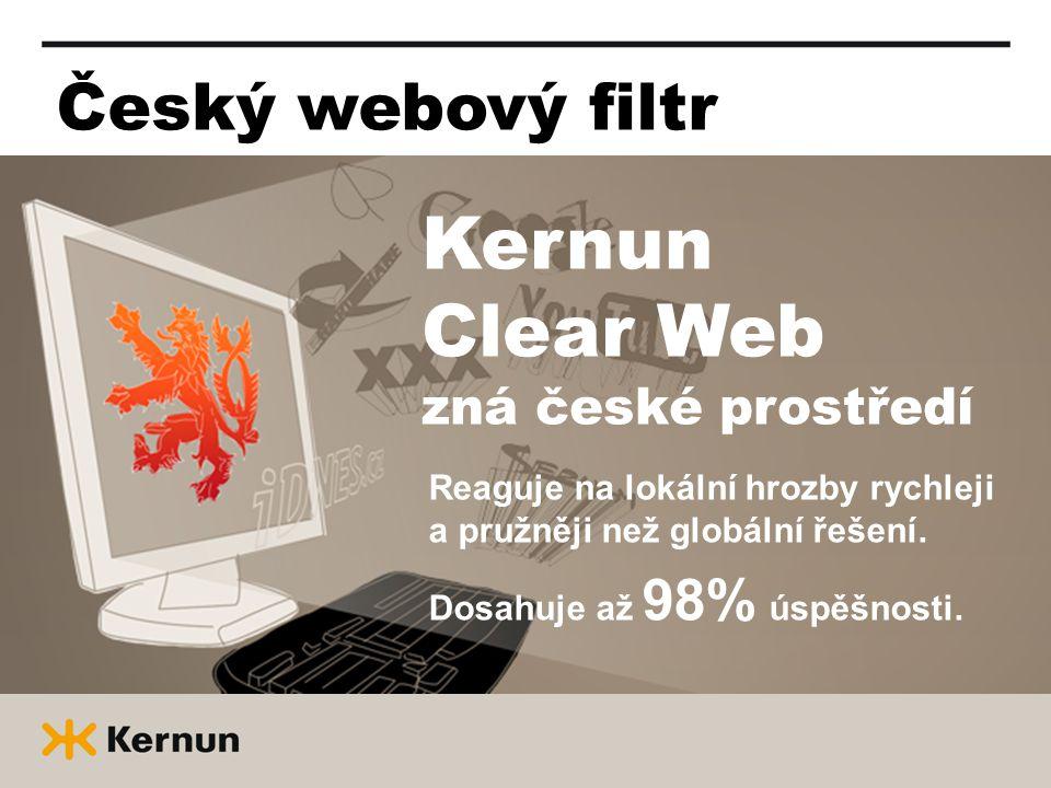 Český webový filtr Kernun Clear Web zná české prostředí Reaguje na lokální hrozby rychleji a pružněji než globální řešení.
