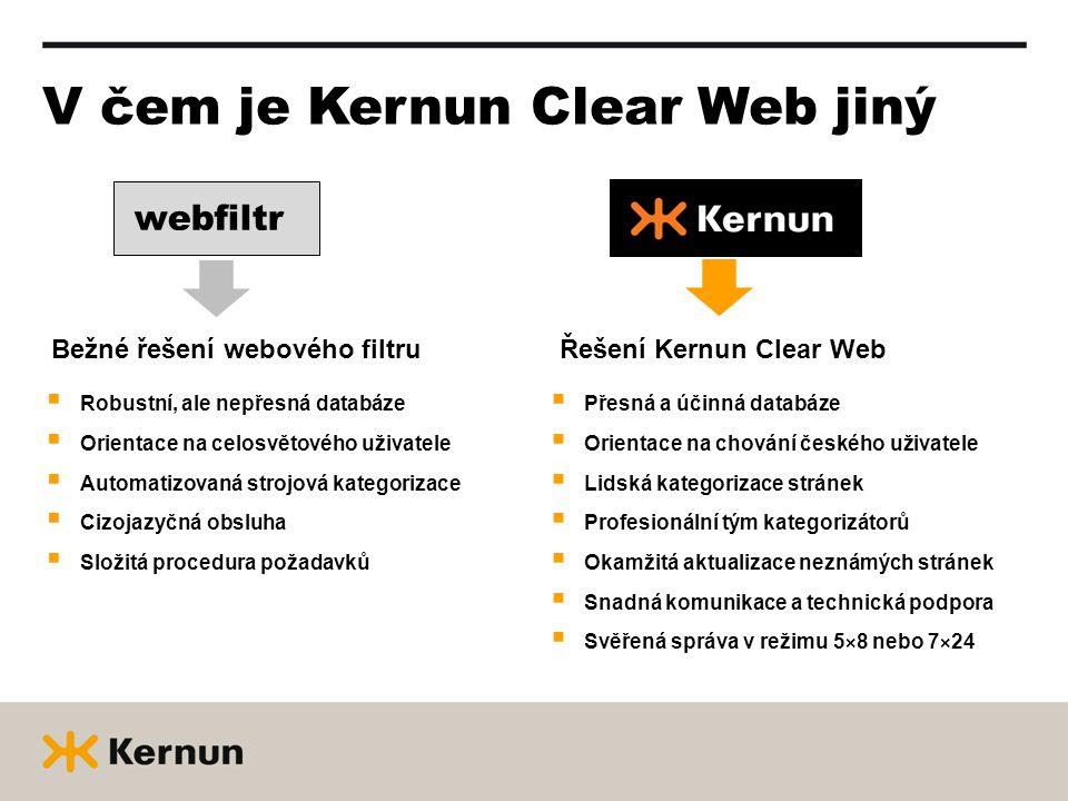 V čem je Kernun Clear Web jiný webfiltr Bežné řešení webového filtru  Robustní, ale nepřesná databáze  Orientace na celosvětového uživatele  Automatizovaná strojová kategorizace  Cizojazyčná obsluha  Složitá procedura požadavků Řešení Kernun Clear Web  Přesná a účinná databáze  Orientace na chování českého uživatele  Lidská kategorizace stránek  Profesionální tým kategorizátorů  Okamžitá aktualizace neznámých stránek  Snadná komunikace a technická podpora  Svěřená správa v režimu 5×8 nebo 7×24